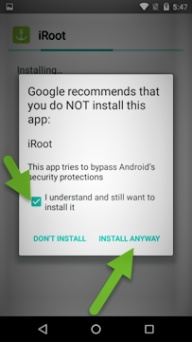 installation warning, iroot download for free